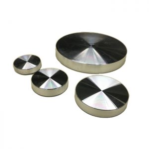4 Aluminum UV Bonding plates for glass D40 with M8 internal thread